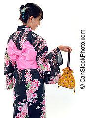 llevando, niña, kimono, japonés