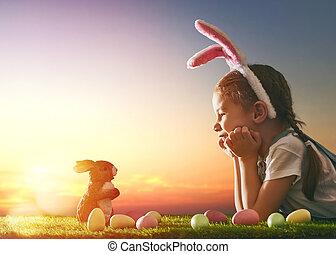 llevando, niña, orejas de conejito