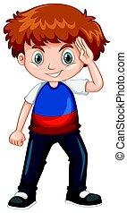 llevando, niño, camisa azul, rojo