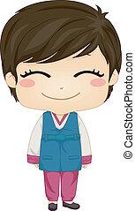llevando, niño, poco, nacional, disfraz, coreano