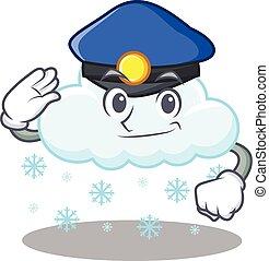 llevando, oficial, policía, sombrero, diseño, nube, mascota...