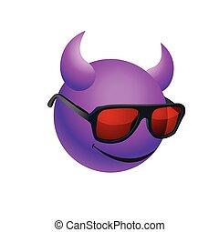 llevando, púrpura, pelota, gafas de sol, cuernos