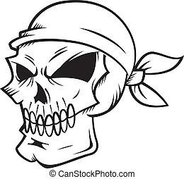 llevando, pañuelo, cráneo