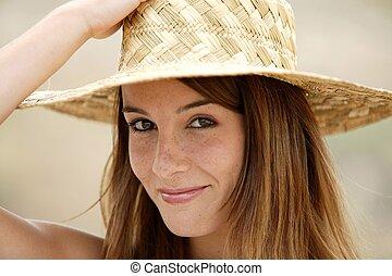 llevando, paja, mujer, sombrero, atractivo