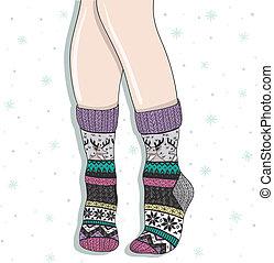 llevando, par, mujer, lana, calcetines