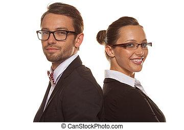llevando, pareja, empresa / negocio, anteojos
