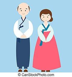 llevando, pareja, traje tradicional, boda, coreano, ropa,...