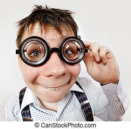 llevando, persona, lentes, oficina, doctor