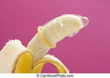 llevando, plátano, condón