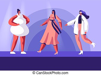 llevando, plano, caracteres, moda, hembra, vector, exposición, modelos, haute, niñas, runway., colección, caricatura, alta costura, catwalk., event., ilustración, se manifestar, moderno, ropa, cima