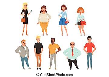 llevando, plano, diferente, portraits., gente, hombres, joven, clothes., caricatura, poses., vector, diseño, colección, caracteres, a lo largo, mujeres, casual, adulto