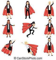 llevando, plano, diferente, superhero, oficinacomercial, exitoso, útil, personas., trajes, caracteres, poses., vector, diseño, hembra, capes., mujeres, rojo, formal