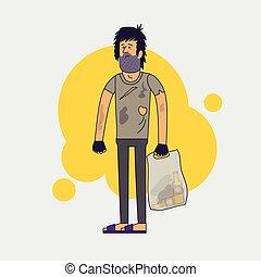 llevando, plano, peludo, illustration., trapos, homeless.,...