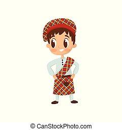 llevando, plano, poco, tartán, niño, sombrero, camisa, escocés, falda escocesa, tradicional, brillante, vector, niño, costume., falda, rojo, icono
