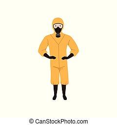 llevando, plano, protector, laboratorio, gas, trabajador, vector, traje, máscara, químico, diseño, boots., naranja, guantes