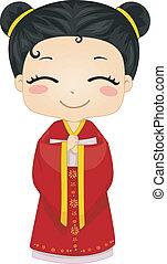llevando, poco, chino, cheongsam, nacional, disfraz, niña