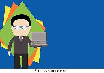 llevando, posición, lentes, izquierda, utilizar, portatil, vestido, computador portatil, bien, handside., hombre, director, computadora, tenencia, traje, frente, hombre de negocios, cristales de la lectura