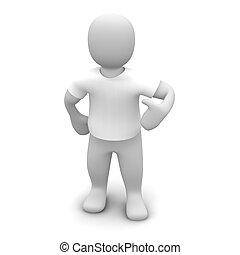 llevando, rendido, illustration., t-shirt., blanco, 3d, hombre