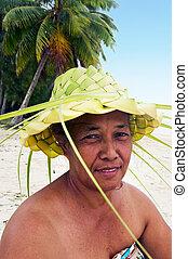 llevando, rodillas, laguna, leaveson, polynesian, sombrero,...