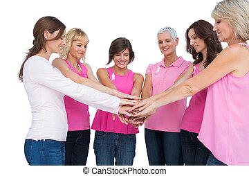 Llevando, rosa,  cáncer, alegre, Posar, pecho, círculo, mujeres