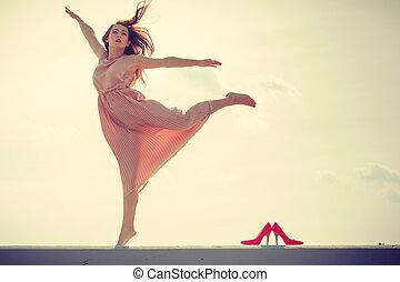 Llevando, rosa, mujer, bailando, luz, largo, Vestido