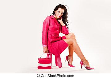 llevando, rosa, todos, joven, sofisticado, sexy, modelo