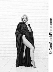 llevando, sexy, outfit., mirada, mujer, elegante, moda,...