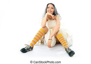 llevando, shoes, calcetines, novia, corriente, soñador