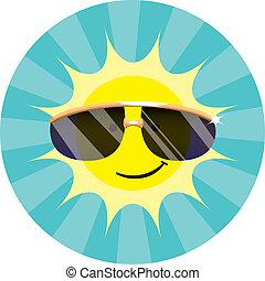 llevando, sol, gafas de sol, fresco