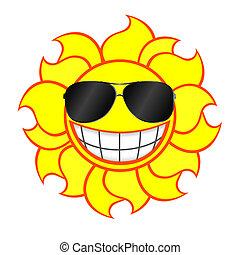 llevando, sol, sonriente, gafas de sol