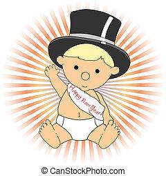 llevando, sombrero, ondulación, año, bebé, nuevo, adorable, faja