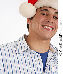 llevando, sombrero, santa