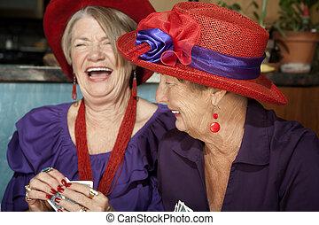 llevando, sombreros damas, tarjetas, juego, rojo
