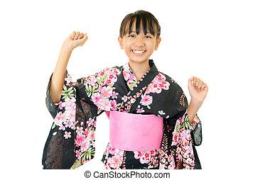 llevando, sonriente, kimono, niña