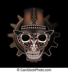 llevando, steampunk, sombrero superior, cráneo