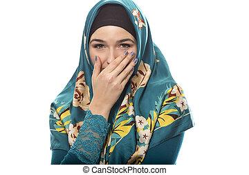 llevando, tímido, hembra, hijab