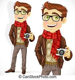 llevando, tipo, hipster, bufanda
