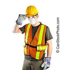 llevando, trabajador, construcción, equipo de seguridad