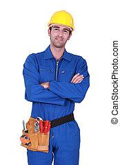 llevando, trabajador, toolbelt