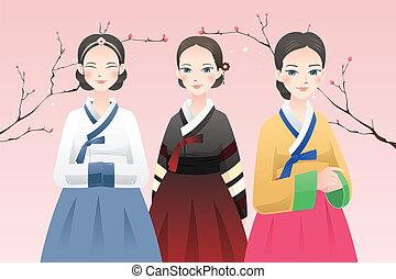 llevando, tradicional, coreano, mujeres, equipo