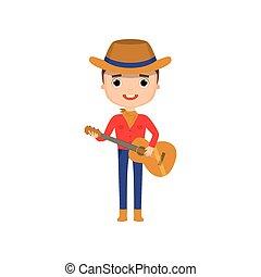 llevando, vaquero, aislado, tocar la guitarra, plano de fondo, blanco, tipo, ropa