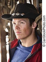 llevando, vaquero, hombre, hat.