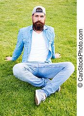 llevando, verano, estilo, verde, sentado, outdoor., gorra,...