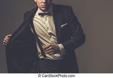 llevando, vestido, fashionist, arco, chaqueta, agudo, ...