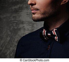llevando, vestido, fashionist, corbata de lazo, agudo