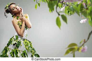 llevando vestido, joven, belleza, ecologic