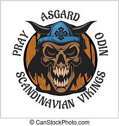 llevando, viking, helmet., cráneo