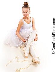 llevando, zapatos de ballet, pointes., bailarín, bastante, ballerina.