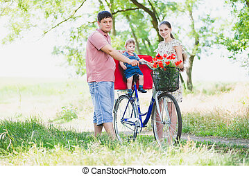 llevar, padres, bicicleta, niño