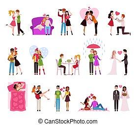 llifestyle, personen, paar omhelzend, stellen, vector, restaurant, vrijstaand, vrolijke , romantische, set, het regenen, hartelijk, love.